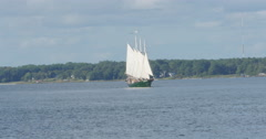 Large Sailboat Green on York River with Blue Skies in Yorktown, 4K  Stock Footage