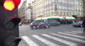Red light for street traffic, pedestrians crossing road, active city life 4k or 4k+ Resolution