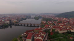 Vltava river and riverside Prague, aerial view Stock Footage