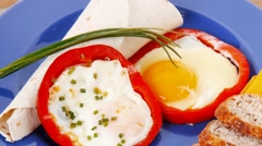 Fried eggs and tortilla with salad  red hot pepper and mustard Stock Footage
