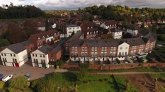 Aerial view of town houses in Bewdley. Stock Footage