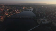 Aerial view of the old part of Prague and bridges over the Vltava river at Stock Footage