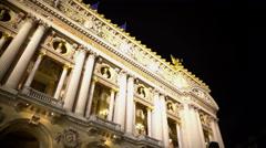Academie Royale de Musique in Paris, popular place, people standing near Opera Stock Footage