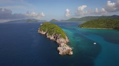 Aerial view of Congo Cay, United States Virgin Islands Stock Footage