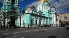 Moscow, Russia March 14, 2016. Epiphany Cathedral on street Spartakovskaya Stock Footage