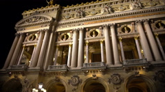 High white columns of illuminated Opera building in Paris, ancient architecture Stock Footage