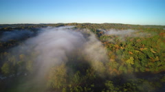 Aerial shot of Trail of Tears State park with fog and campground Stock Footage
