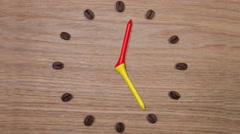 Coffee Time - Clock of coffee beans and wooden golf tees Stock Footage