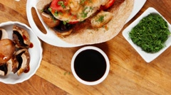 Big mexican taco served with vegetable soup Stock Footage