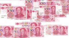 4k Float looming 100 RMB bills money wealth background. Stock Footage