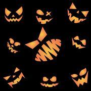Scary face of Happy Halloween on black night sky. Stock Illustration
