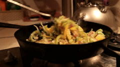Stir fried vegetables in the pan Stock Footage