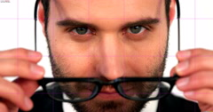 Close-up of businessman wearing spectacle Stock Footage