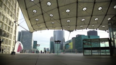 Panorama of beautiful Grande Arche de la Defense in Paris, European architecture Stock Footage