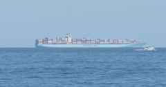 Large Cargo Container Ship Boat off the Shore of Virginia Beach, 4K Stock Footage