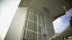Bottom view on amazing Grande Arche de la Fraternite in Paris, architecture Stock Footage