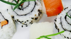 Maki Roll on white plate Stock Footage