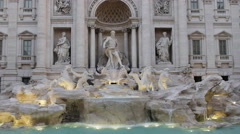Close up of trevi fountain with floodlights on in  rome, italy Stock Footage