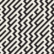 Vector Seamless Black And White Irregular Diagonal Lines Pattern Stock Illustration