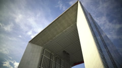 Panorama of Grande Arche in Paris, famous landmark in business city center Stock Footage