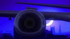 Sheffield England Airplane Take Off Moon Night Blue Skyline Travel Stock Footage