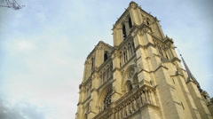 Notre-Dame de Paris, national and cultural heritage of France, famous landmark Stock Footage