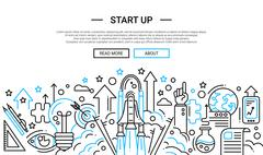 Start Up - line design website banner temlate Stock Illustration
