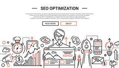SEO Optimization - line design website banner temlate Stock Illustration