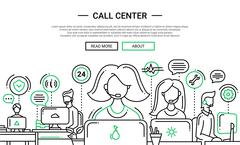 Call Center - line design website banner temlate Stock Illustration