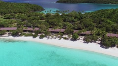 Aerial view of Scott beach, Caneel Bay, St John Stock Footage