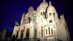 Beautiful Sacre Coeur Basilica in Paris, France, sightseeing at evening time Stock Footage