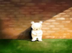 Sad, lonely abstract concept illustration white teddy bear standing alone Stock Illustration
