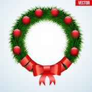 Green christmas wreath Stock Illustration
