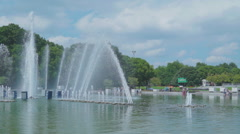 Hyperlapse of fountains in Gorky Park, Moscow HD Stock Footage