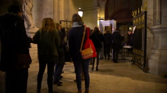 Security check at museum entrance, people standing in line, terrorism prevention Stock Footage