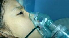 4K footage medical inhalation treatment Stock Footage