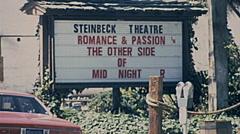 Monterey 1977: steinbeck theatre sign Stock Footage