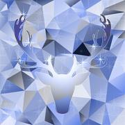 Deer head vector illustration elk silhouette polygonal mosaic abstract Stock Illustration