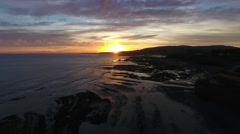 Aerial view over Watchet beach. Stock Footage