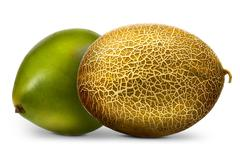 Group of melons and pomelo isolated on white background Stock Photos