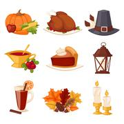 Happy Thanksgiving Day set vector Stock Illustration