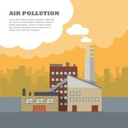 Air Pollution Banner. Factory with Smog Pipes Stock Illustration