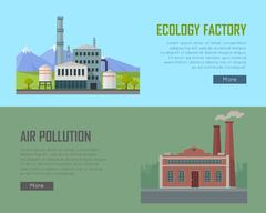 Ecology Factory and Air Pollution Banners Piirros