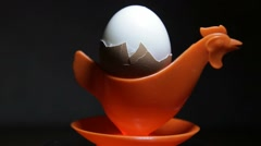 Soft-boiled egg in eggcup Stock Footage