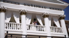 Bride and groom on the balcony Stock Footage
