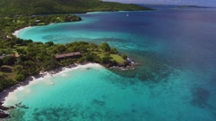 Aerial view of  turtle beach, Caneel Bay, St John Stock Footage