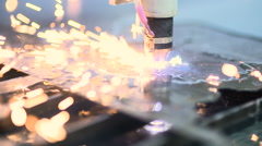 Laser cutter cuts metal parts Stock Footage