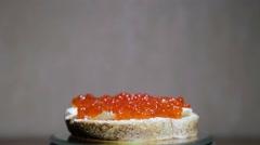 Sandwich with caviar Stock Footage