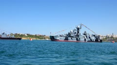 Russian ships, the overall plan, move right. Stock Footage