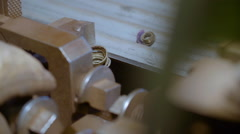On a Lathe With Metal Products Cutter Remove Metal Shavings Visible to the Stock Footage